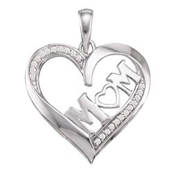 0.08 CTW Diamond Mom Mother Pendant 10KT White Gold - REF-10Y5X