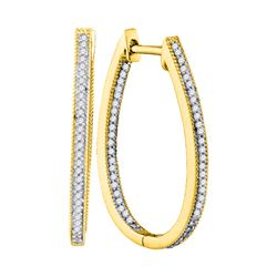 0.33 CTW Diamond Oblong Oval Hoop Earrings 10KT Yellow Gold - REF-30W2K
