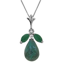 Genuine 9.3 ctw Green Sapphire Corundum & Emerald Necklace Jewelry 14KT White Gold - REF-30R2P
