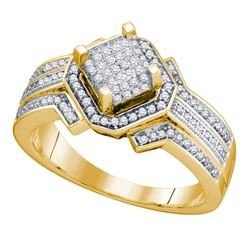 0.40 CTW Diamond Diagonal Square Cluster Ring 10KT Yellow Gold - REF-49H5M
