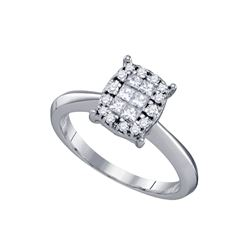 0.40 CTW Princess Diamond Soleil Cluster Bridal Engagement Ring 14KT White Gold - REF-59Y9X