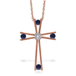 Genuine 0.53 ctw Sapphire & Diamond Necklace Jewelry 14KT Rose Gold - REF-79T4A