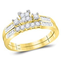 0.40 CTW Princess Diamond Bridal Engagement Ring 10KT Yellow Gold - REF-30H2M