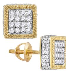 0.75 CTW Mens Diamond Square 3D Cluster Stud Earrings 10KT Yellow Gold - REF-52M4H