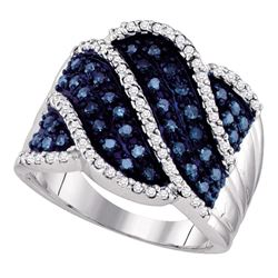 0.76 CTW Blue Color Diamond Fashion Ring 10KT White Gold - REF-49F5N
