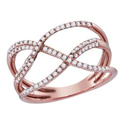 0.35 CTW Diamond Open Strand Crossover Ring 10KT Rose Gold - REF-26X3Y