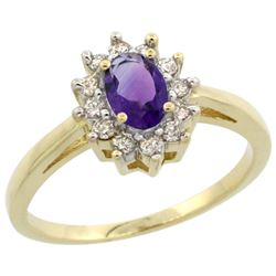 Natural 0.67 ctw Amethyst & Diamond Engagement Ring 10K Yellow Gold - REF-38R8Z