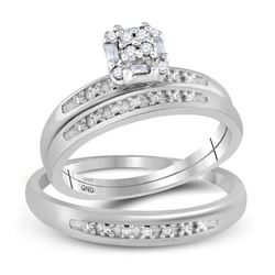 0.10 CTW His & Hers Diamond Cluster Matching Bridal Ring 10KT White Gold - REF-26W9K