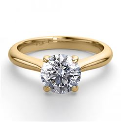 14K Yellow Gold Jewelry 0.91 ctw Natural Diamond Solitaire Ring - REF#243R2M-WJ13218