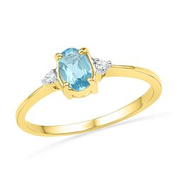 1.05 CTW Oval Created Blue Topaz Solitaire Diamond Ring 10KT Yellow Gold - REF-12Y2X