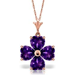 Genuine 3.8 ctw Amethyst Necklace Jewelry 14KT Rose Gold - REF-42Y2F