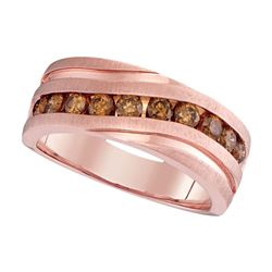 1 CTW Mens Diamond Wedding Single Row Grooved Ring 10KT Rose Gold - REF-112Y5X