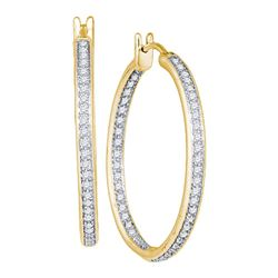 1 CTW Diamond Single Row In/Out Hoop Earrings 14KT Yellow Gold - REF-119M9H