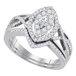 0.88 CTW Princess Diamond Oval Bridal Engagement Ring 14KT White Gold - REF-97K4W