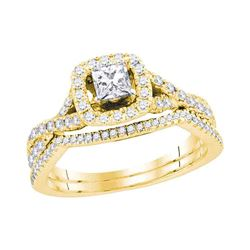 0.98 CTW Princess Diamond Bridal Engagement Ring 14KT Yellow Gold - REF-127W4K