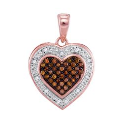 0.14 CTW Red Color Diamond Heart Halo Pendant 10KT Rose Gold - REF-16F4N