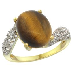 Natural 4.45 ctw tiger-eye & Diamond Engagement Ring 14K Yellow Gold - REF-47A5V