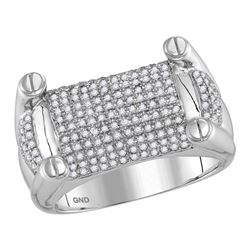 0.93 CTW Mens Diamond Rounded Surface Studded Cluster Ring 10KT White Gold - REF-112M5H