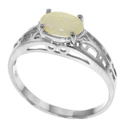 Genuine 0.45 ctw Opal Ring Jewelry 14KT White Gold - REF-29M7T