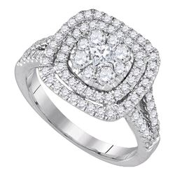 1 CTW Princess Diamond Cluster Bridal Engagement Ring 14KT White Gold - REF-119Y9X