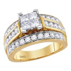 1.75 CTW Princess Diamond Cluster Bridal Engagement Ring 14KT Yellow Gold - REF-224X9Y