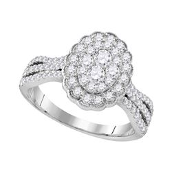 0.98 CTW Diamond Oval Flower Cluster Ring 10KT White Gold - REF-112X5Y