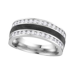 1.01 CTW Mens Diamond Double Row Wedding Ring 14KT White Gold - REF-119Y9X