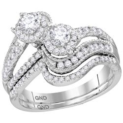 1.03 CTW Diamond 2-stone Bridal Wedding Engagement Ring 14KT White Gold - REF-134N9F