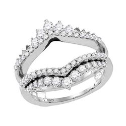 0.97 CTW Diamond Wrap Ring 14KT White Gold - REF-109X4Y