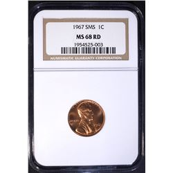 1967 SMS LINCOLN CENT, NGC MS-68 RED