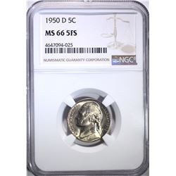 1950-D JEFFERSON NICKEL, NGC MS-66 FIVE FULL STEPS