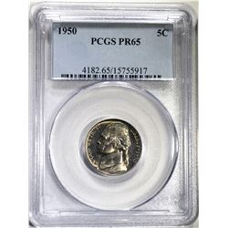 1950 JEFFERSON NICKEL, PCGS PR-65
