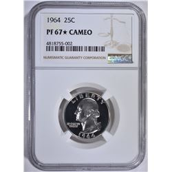 1964 WASHINGTON QTR NGC PF67 STAR