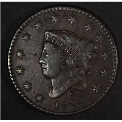1822 LARGE CENT, XF NICE