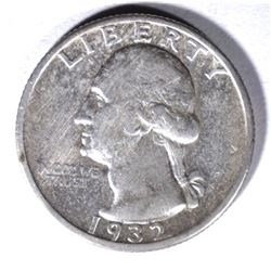 1932-S WASHINGTON QUARTER, AU cleaned