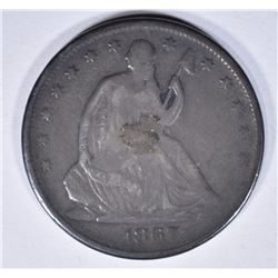 1867 SEATED HALF DOLLAR, FINE