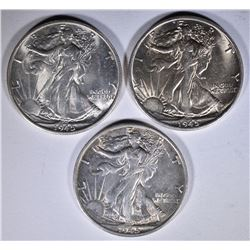 3-CH BU 1945-S WALKING LIBERTY HALVES