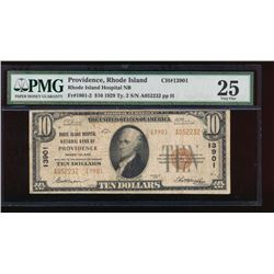 1929 $10 Rhode Island Hospital Nation Bank Note PMG 25