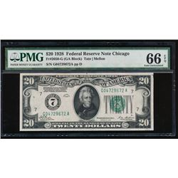 1928 $20 Chicago Federal Reserve Note PMG 66EPQ