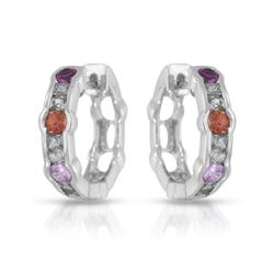 14KT White Gold 1.52ctw Multi Color Sapphire Earrings
