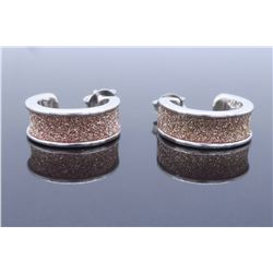 Sterling Silver Pink Glitter Earrings