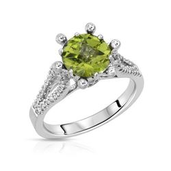 18KT White Gold 1.50ct Peridot and Diamond Ring