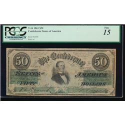1861 $50 Confederate States of American Note PCGS 15
