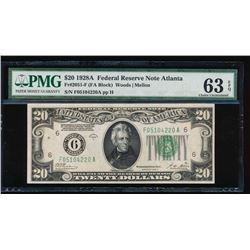 1928 $20 Atlanta Federal Reserve Note PMG 63EPQ