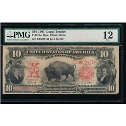 1901 $10 Bison Legal Tender Note PMG 12