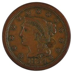 1854 Braided Hair Large Cent Coin