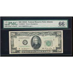 1950A $20 Atlanta Federal Reserve Note PMG 66EPQ