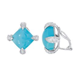 14KT White Gold 14.33ctw Turquoise and Diamond Earrings