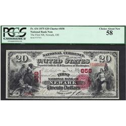 1875 $20 First National Bank of Newark Note PCGS 58
