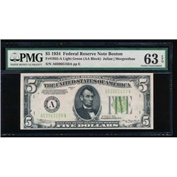 1934 $5 Boston Federal Reserve Note PMG 63EPQ